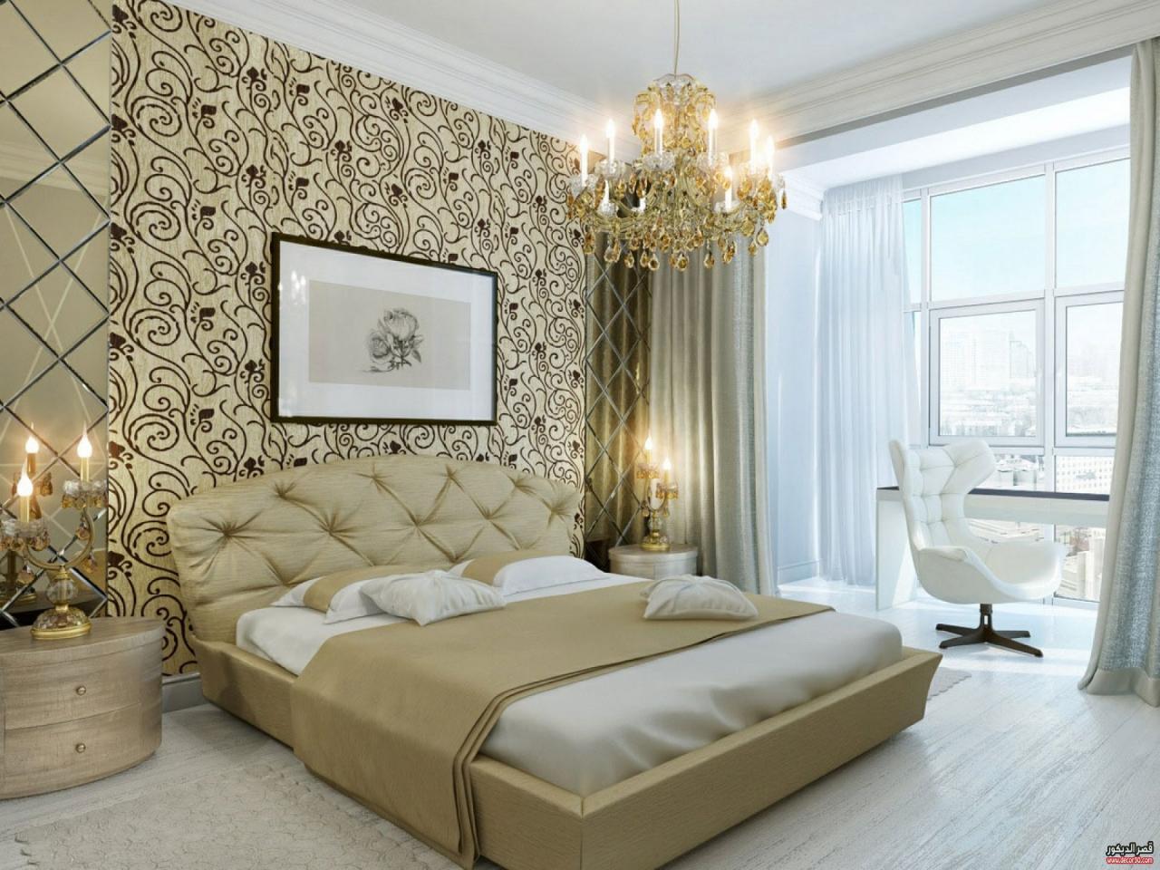 صورة ورق حائط غرف النوم , احدث ورق ثرى دى للجدران واو