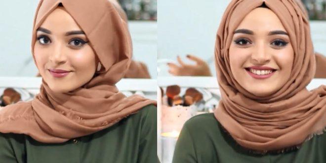 صورة لفات شال 2019 , لمحجبة هذا العام اسهل واجمل صيحات الطرح ولفاتها